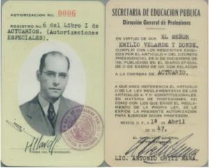 Cédula profesional del Ing. Emilio Velarde Dondé.